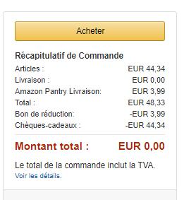 Amazon mon panier total
