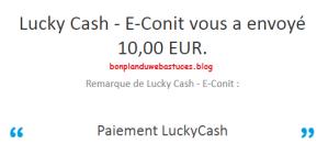 preuve de paiement lucky cash