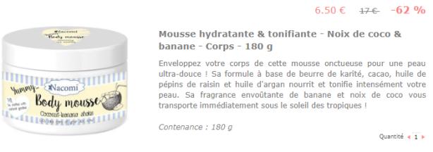 Mousse hydratante banane coco Nacomi