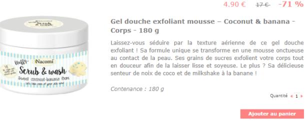 Mousse douche exfoliante banane coco Nacomi